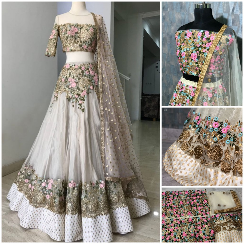 New  Designer White Full Worked Lehenga