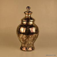 BOTTLE SHAPED GLASS JAR & CANISTERS, ,UNIQUE SILVER GLASS JAR WITH COVER