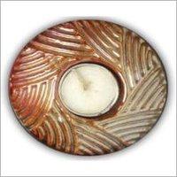 Ceramic Round Candle Holder Green