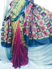 Silk batik printed Saree