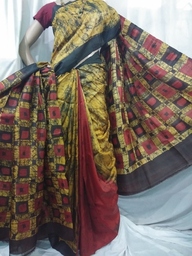 Silk batik saree with hand printed