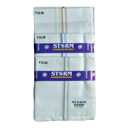 Satin Border White Handkerchief