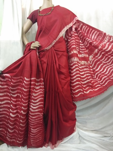 Red printed batik silk saree