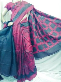 Pink printed batik silk saree