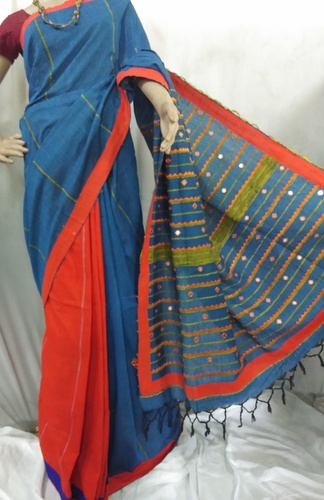 Blue hand printed Handloom cotton saree
