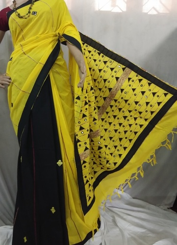 Black and yellow hand printed Handloom cotton saree