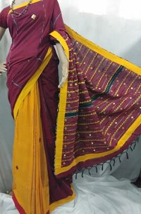 Yellow and maroon hand printed  Handloom  cotton  saree