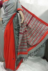 Grey ND cotton hand printed Handloom cotton saree