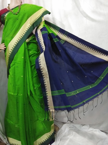 Green n blue Handloom cotton silk saree