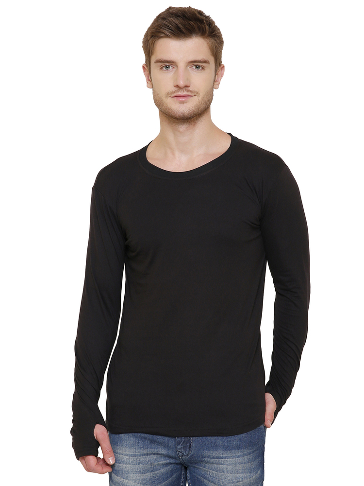 Men's Black Thumb Hole T-shirt