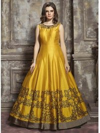 Silk Embroidery  A-Line Gown