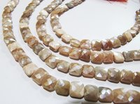 AAA Quality Peach Moonstone AB Coated Cushion Shape beads