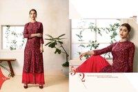 Rayon printed kurti with designer plazzo