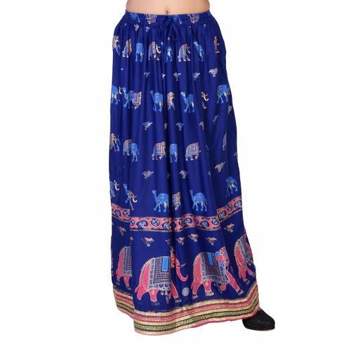 Gold Printed Rayon Long Skirt
