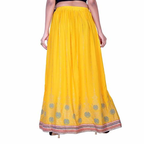 Rajasthani Printed Long Rayon Skirt