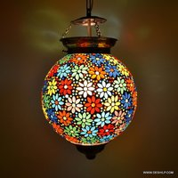 ANTIQUE MULTI COLOR MOSAIC HANGING BALL SHAPE LAMP WITH FITTING