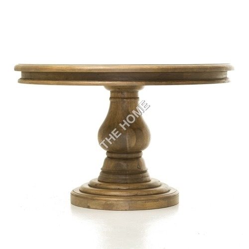 VINTAGE ROUND DINING TABLE PEDASTAL BASE PATINA FINISH