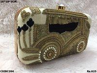 Car Design Embroidered Box Clutch