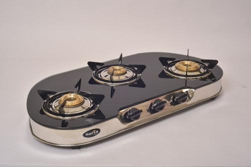 3 BURNER GLASS GAS STOVE