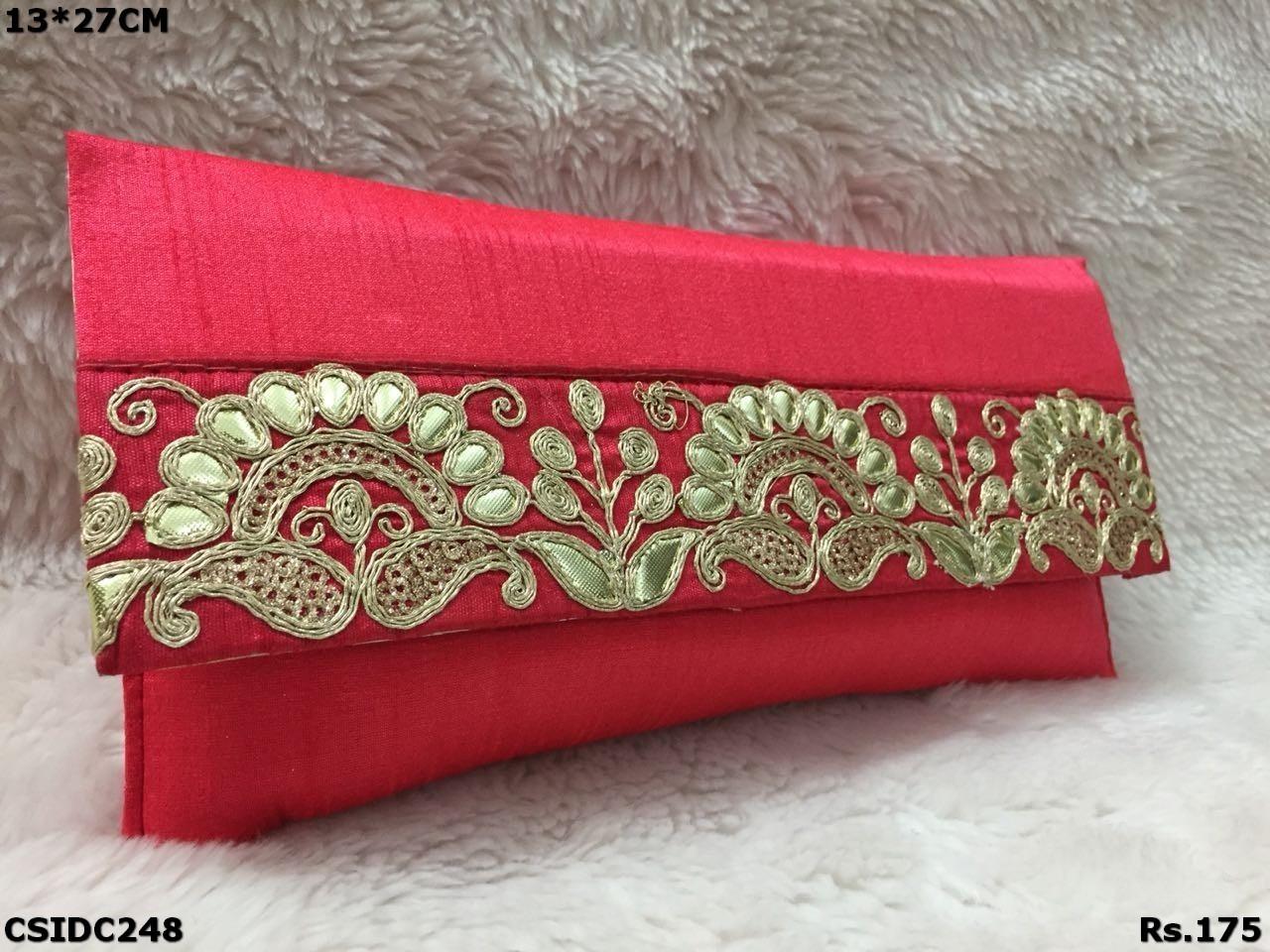 designer raw silk clutch