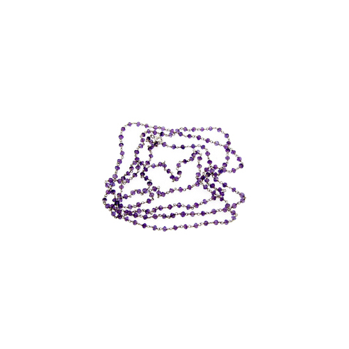 Amethyst Link Beaded Chain Necklace