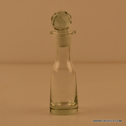 SMALL CLEAR GLASS DECANTER, GLASS DECANTER WITH GLASS CRYSTAL STOPPER , GLASS PERFUME BOTTLE