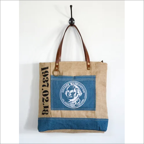 Jute Denim Stamp Print Tote Bag