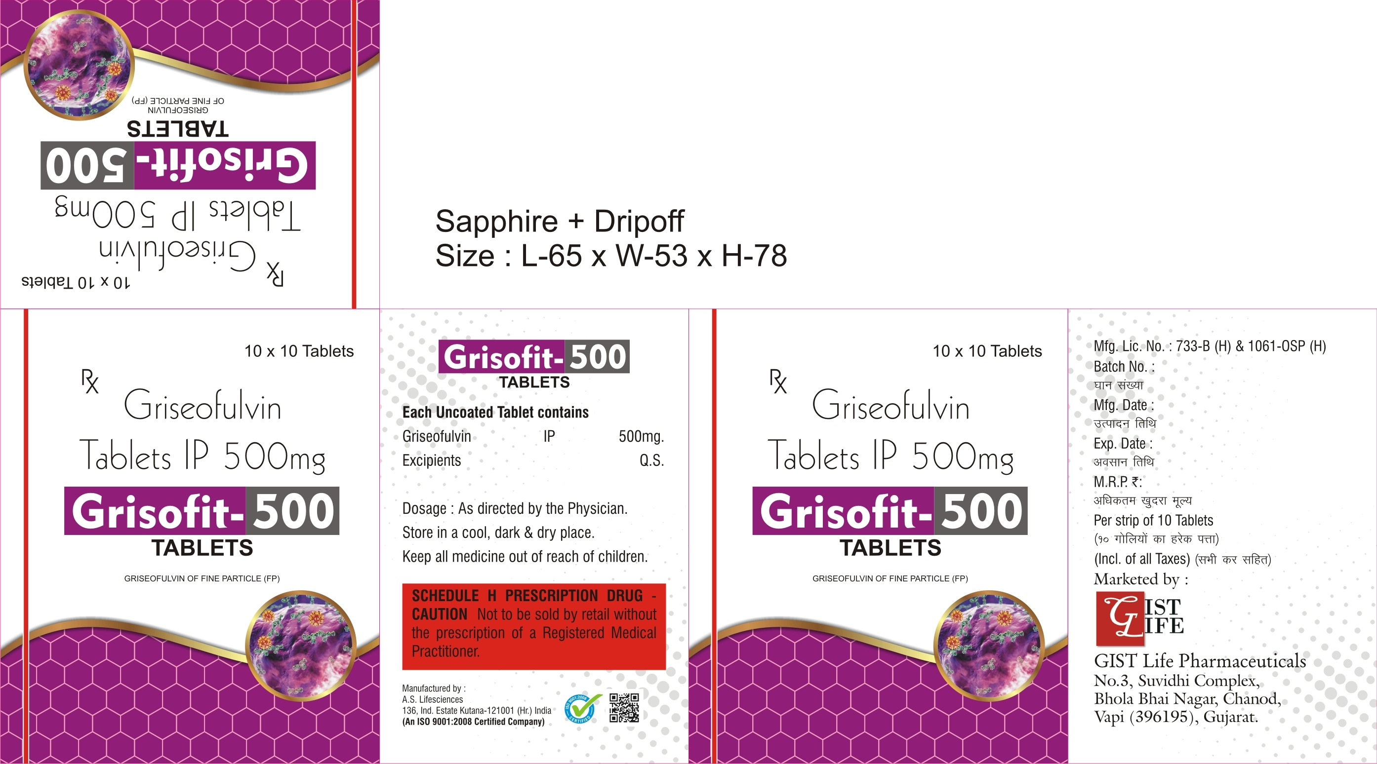 GRISEOFULVIN 500 MICRONIZED SCORED TABLETS