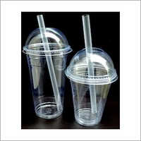 Plain PP Plastic Glass with Dome Lid