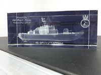 3D Ship Engraved In Crystal