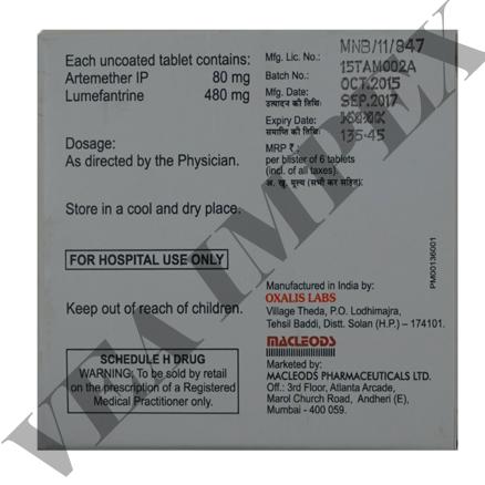 Azunate L 480(Artemether Lumefantrine Tablets)