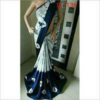 Linen by linen hand print designer saree