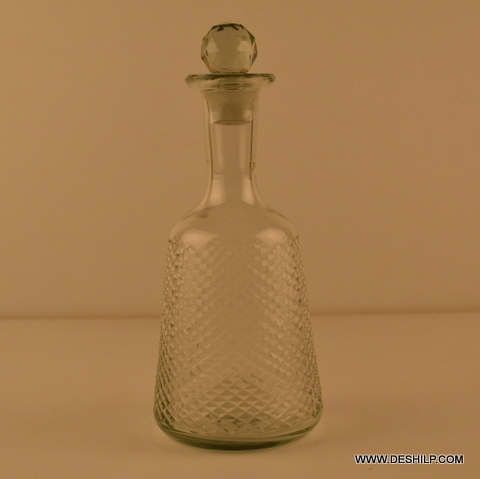 CRYSTAL CUTTING GLASS DECANTER WITH STOPPER ROUND SHAPED DECANTER