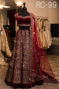 Ladies Party Wear Maroon colour Lehenga Choli