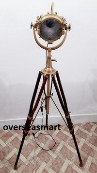 Vintage Marine Spotlight Industrial Tripod Floor Lamp Nautical Searchlight Lamp