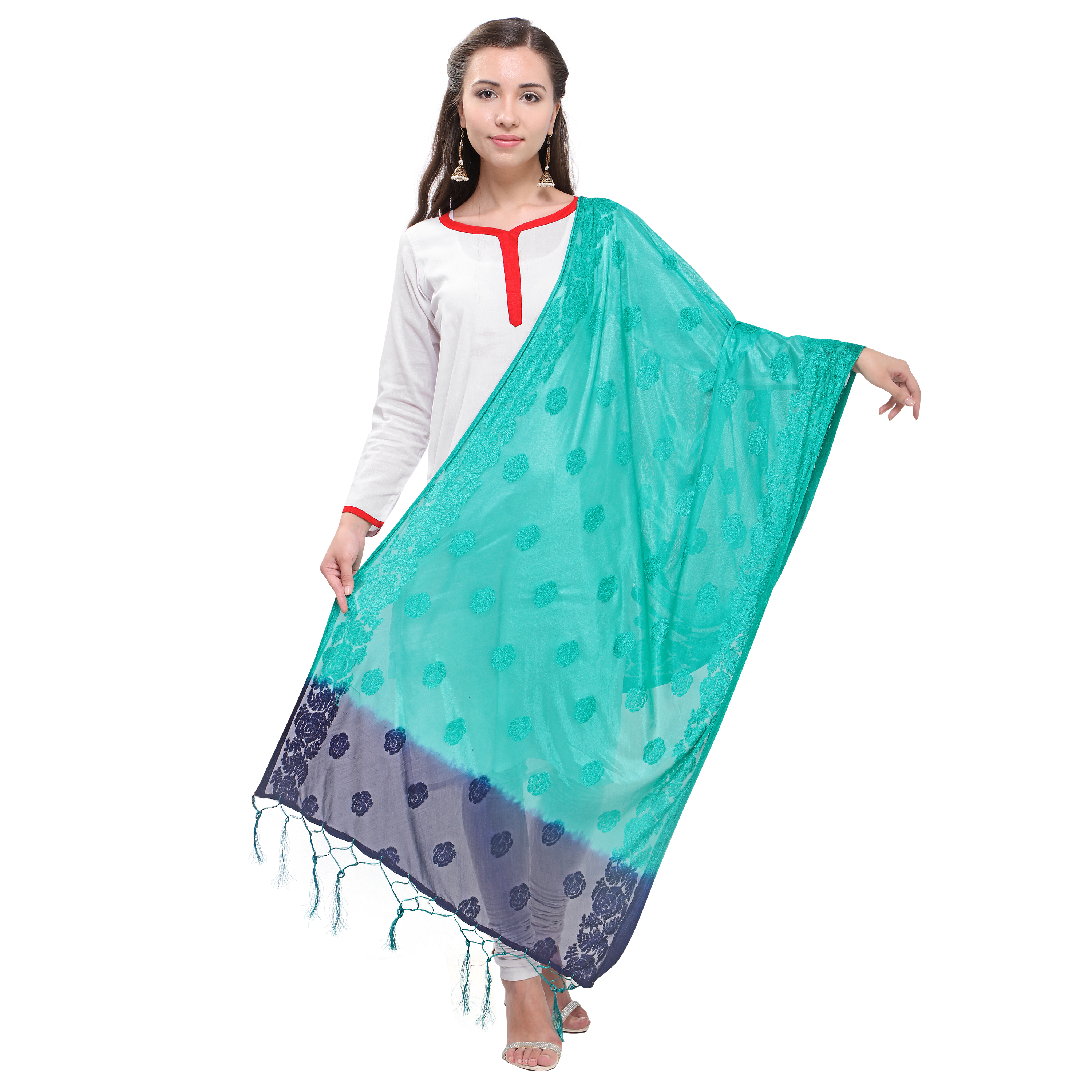 Casual Wear Duppata With Jhalar/ Tessals