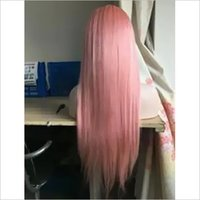 Pink Real Human Hair 100 Percent Straight Lace Front Wig