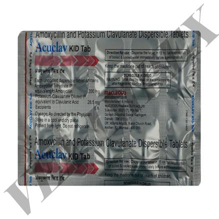 Acuclav Kid Tab(Amoxycillin and Potassium Clavulanate Tablets)