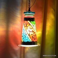 MOSAIC MULTI COLOR HANGING LAMP WITH FITTING, DECORATIVE PENDANT LAMP