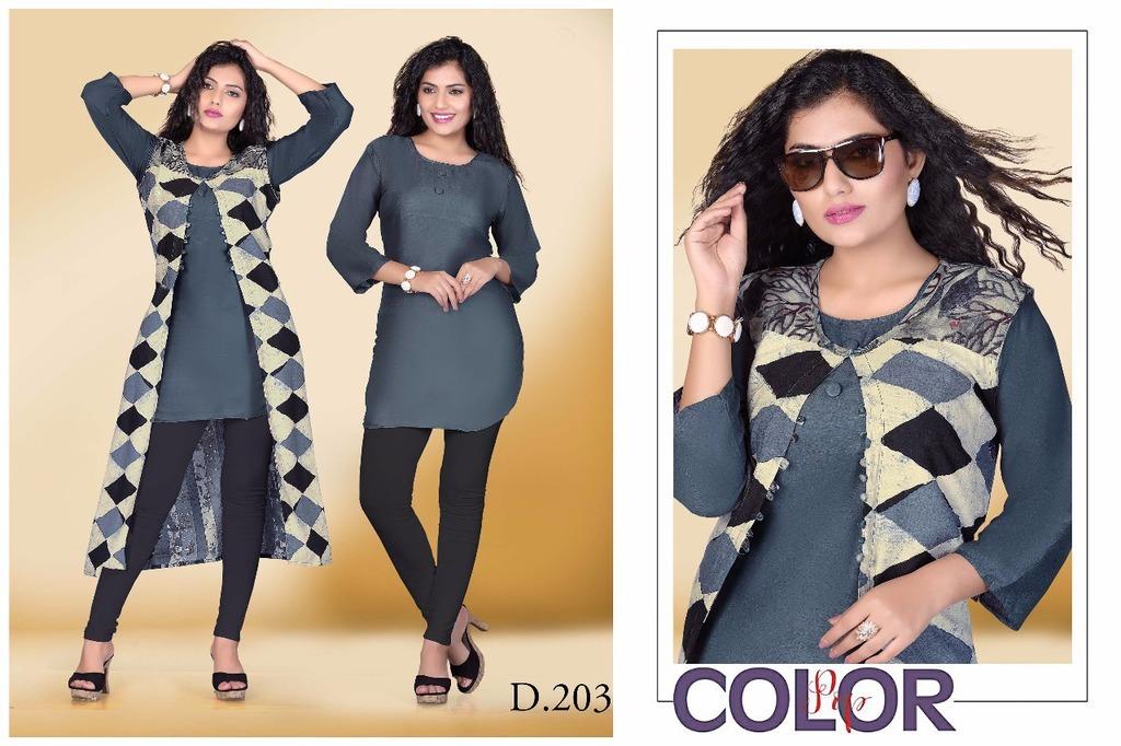 Plain Rayon Kurti With print koti