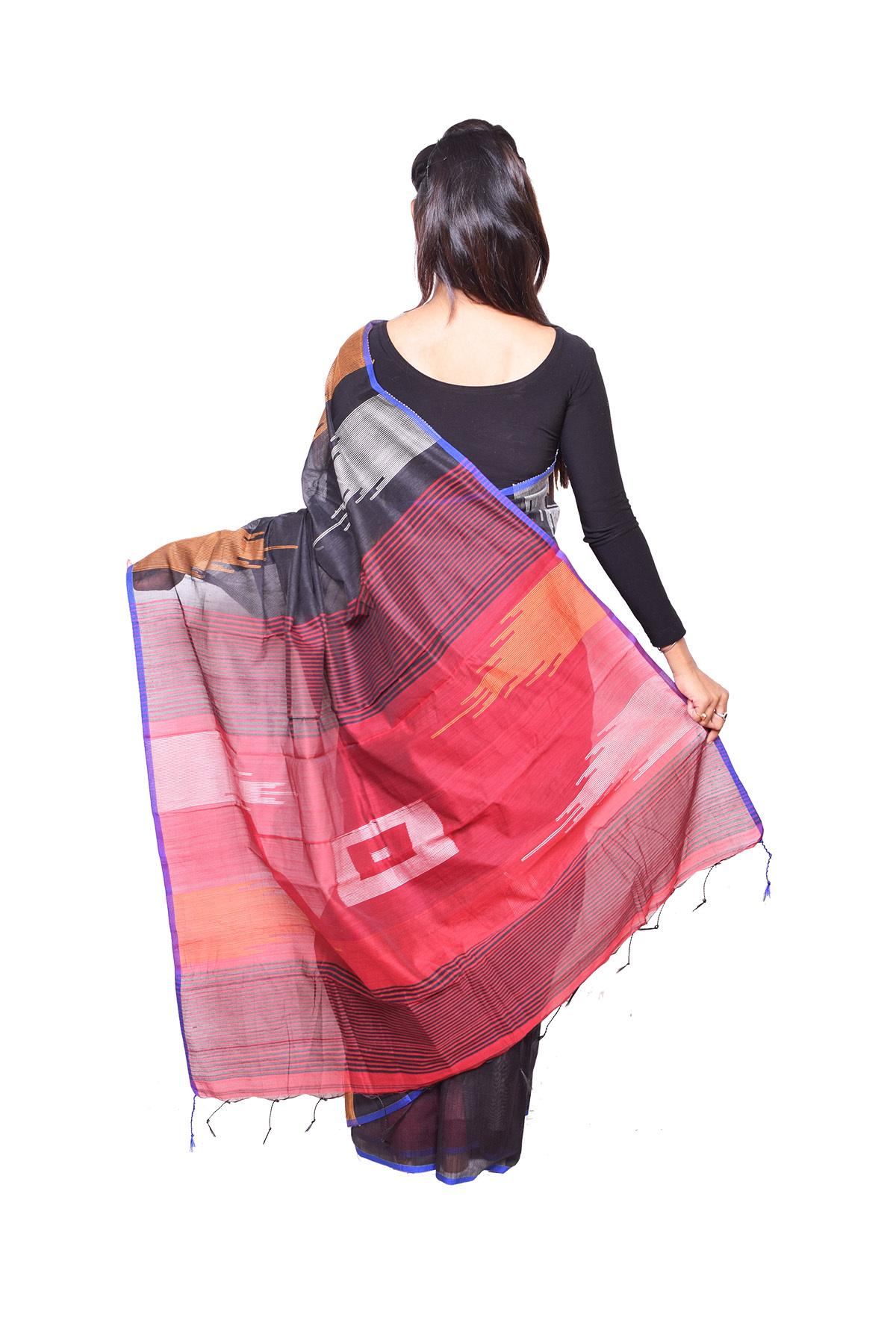 Black Red Handloom Saree