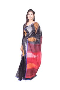 Black Red Handloom Saree