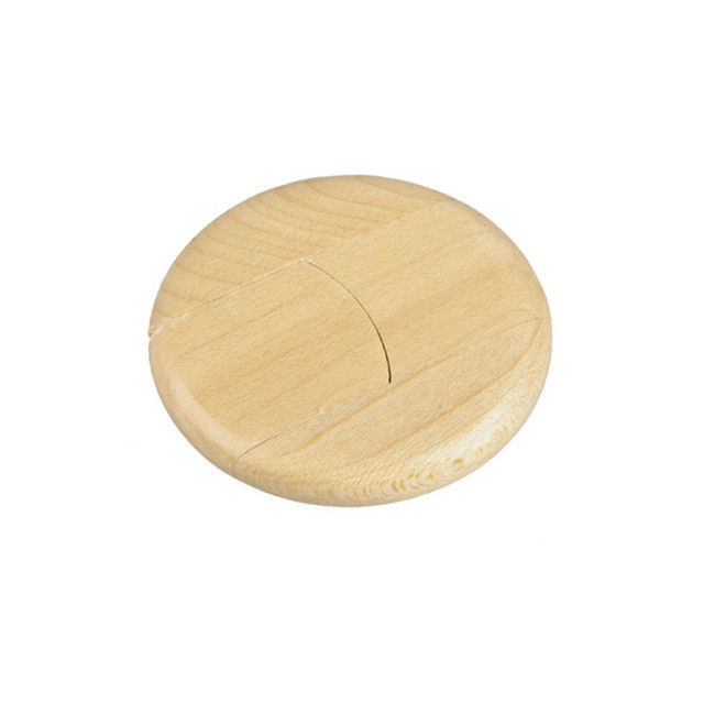 Round shape wood coin USB flash drive