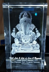 3D Crystal Engraved Ganesh