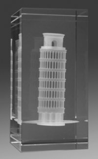 Leaning Tower of Pisa 3D Engraved inside Crystal