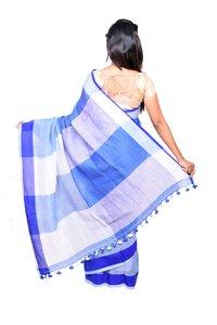 Blue Linen Handloom Saree