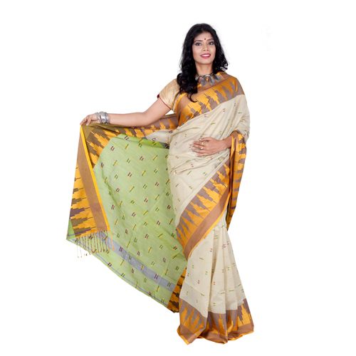 White Handloom  Saree