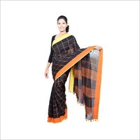 Handwoven checks linen saree