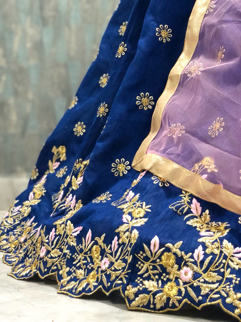Nevy Blue Ladies Printed Lehengas