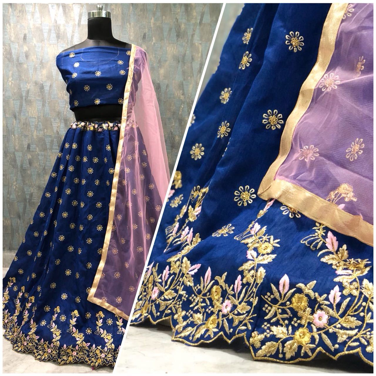 Nevy Blue Ladies Printed Lehengas